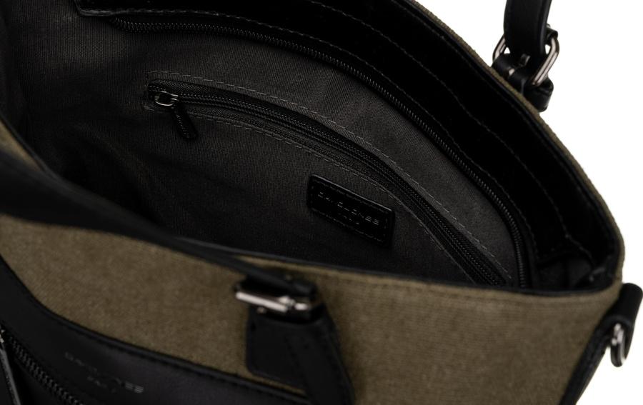 DAVID JONES Khaki zelená menšia textilná dámska kabelka