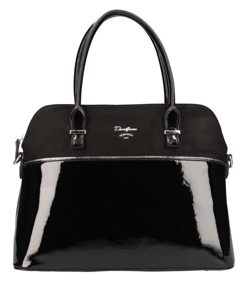 Čierna pololakovaná dámska kabelka do ruky David Jones