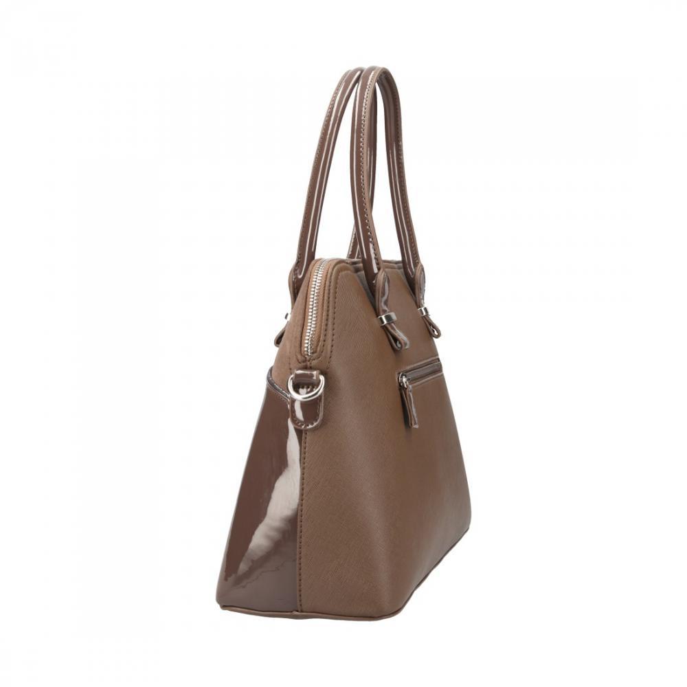 Tmavě hnědá pololakovaná dámská kabelka do ruky David Jones CM4016