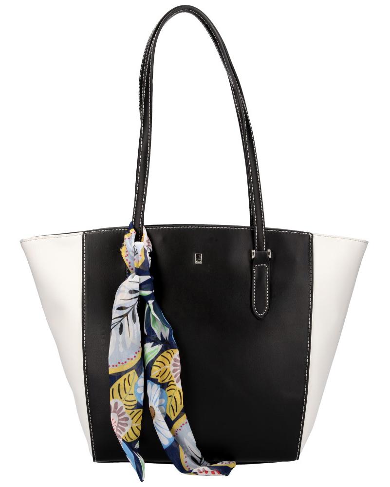 DAVID JONES Elegantní dámská kabelka přes rameno CM5003 černo-bílá