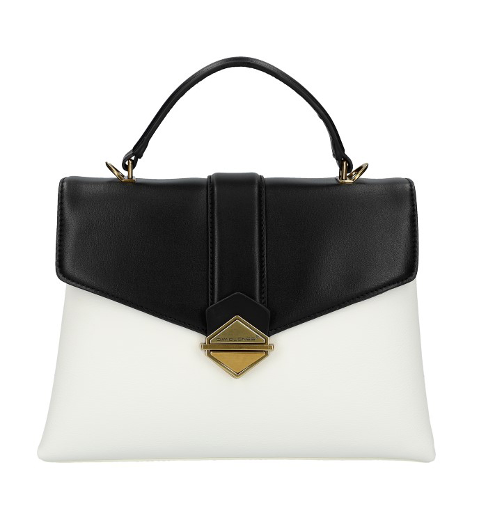 DAVID JONES Elegantná bielo-čierna dámska kabelka do ruky CM5617