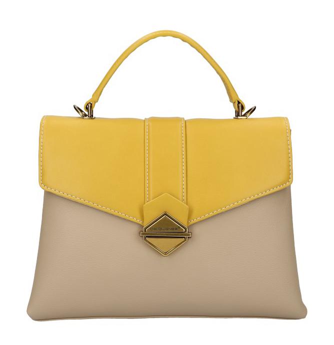 DAVID JONES Elegantná kapučínovo-žltá dámska kabelka do ruky CM5617