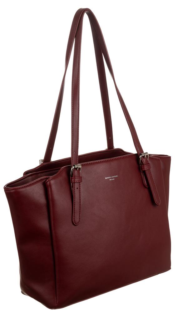 DAVID JONES Tmavě červená velká dámská kabelka přes rameno CM6226
