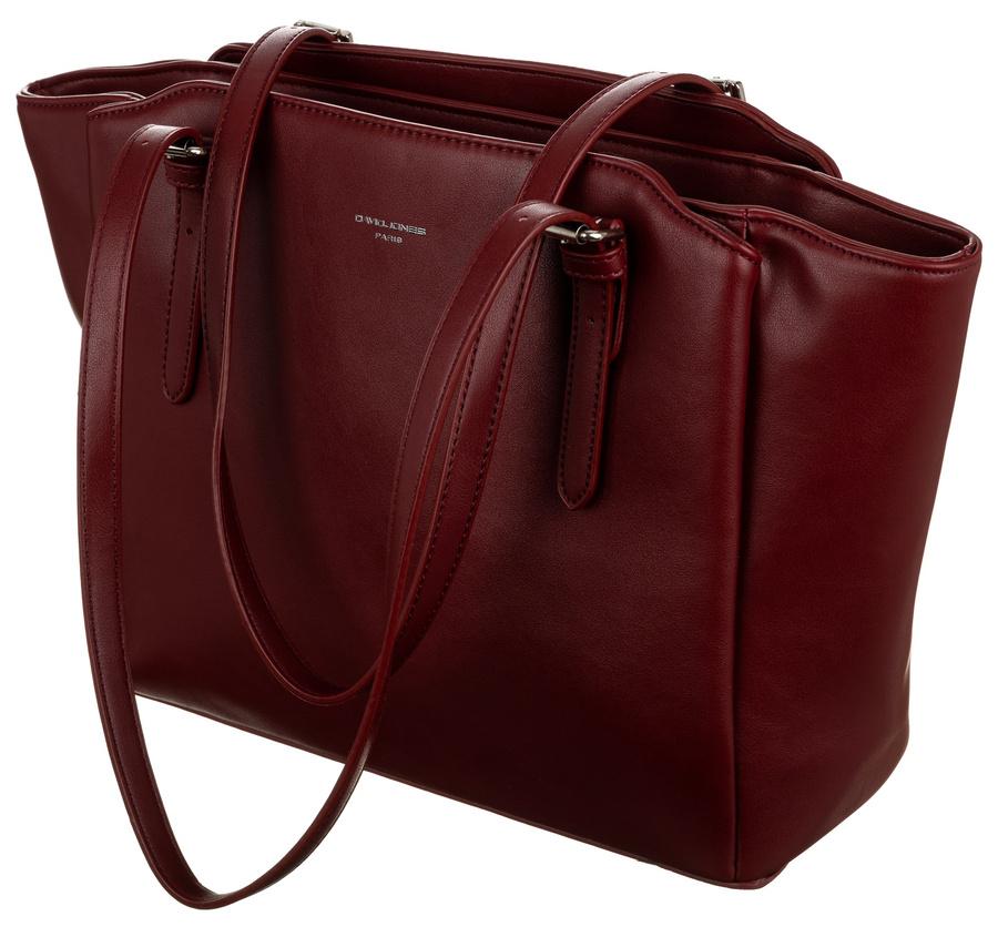 DAVID JONES Tmavo červená veľká dámska kabelka cez rameno CM6226