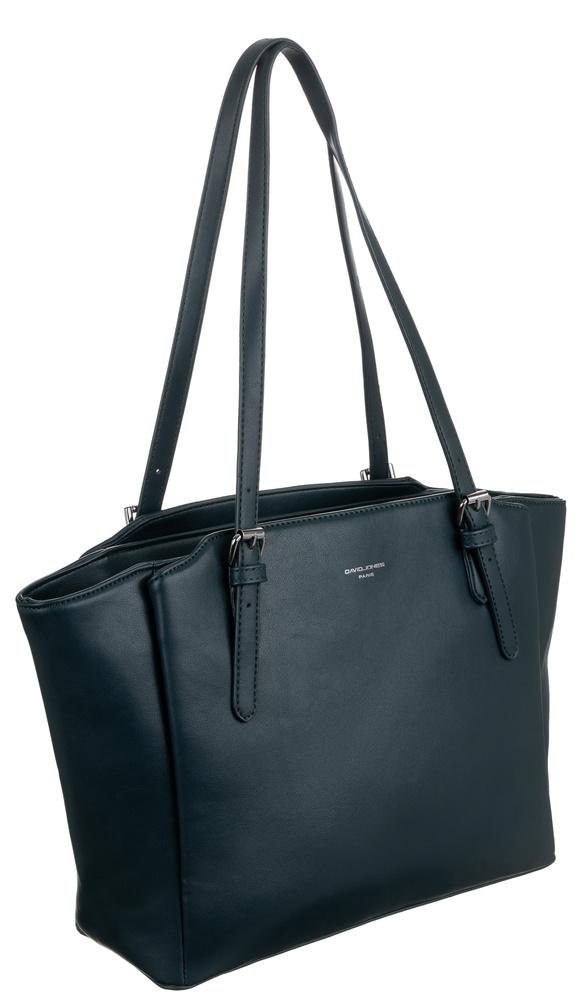 DAVID JONES Petrolejově modrá velká dámská kabelka přes rameno CM6226