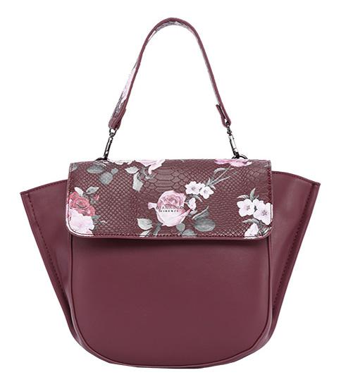 DIANA & CO Květinová dámská taška s klopou bordová