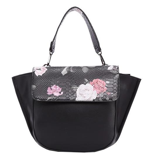 DIANA & CO Kvetinová dámska taška s chlopňou čierna
