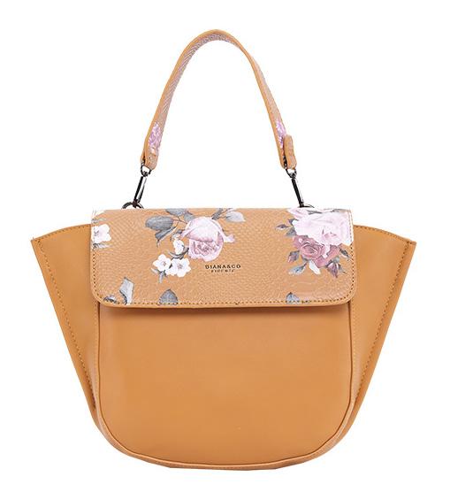 DIANA & CO Květinová dámská taška s klopou hořčicově žlutá