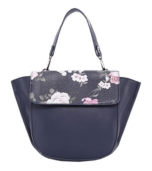 DIANA & CO Kvetinová dámska taška s chlopňou modrá