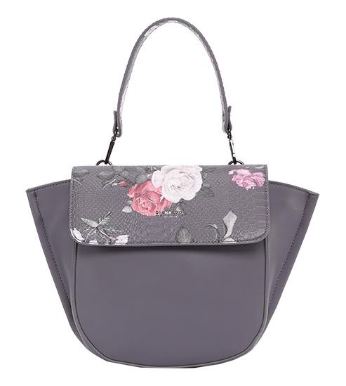 DIANA & CO Kvetinová dámska taška s chlopňou sivá