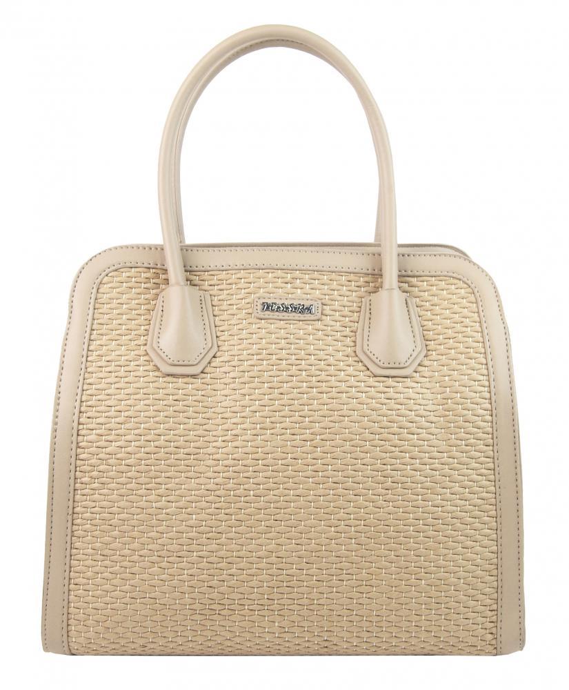 Béžová dámska kabelka do ruky v prepletanom štýlu 4490-TS