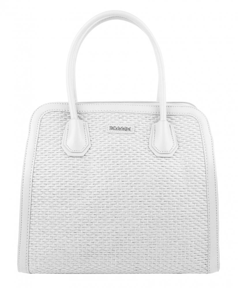 TESSRA 4490-TS Dámska kabelka do ruky v prepletanom štýlu - biela