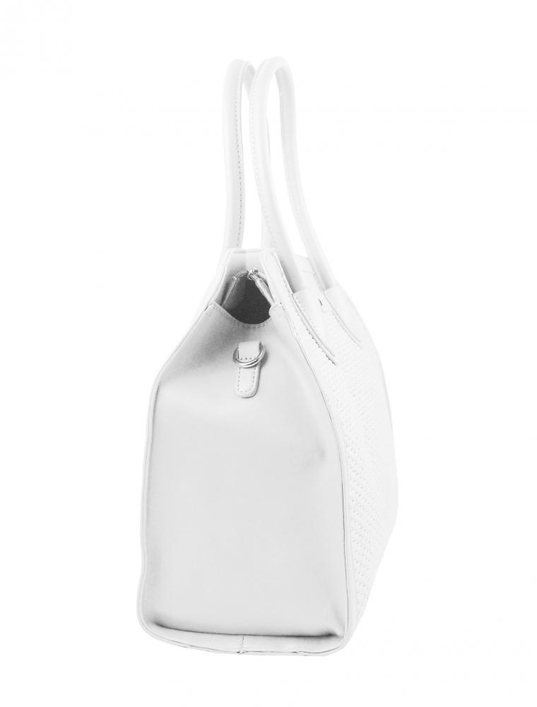 Bílá dámská kabelka do ruky v proplétaném stylu 4490-TS