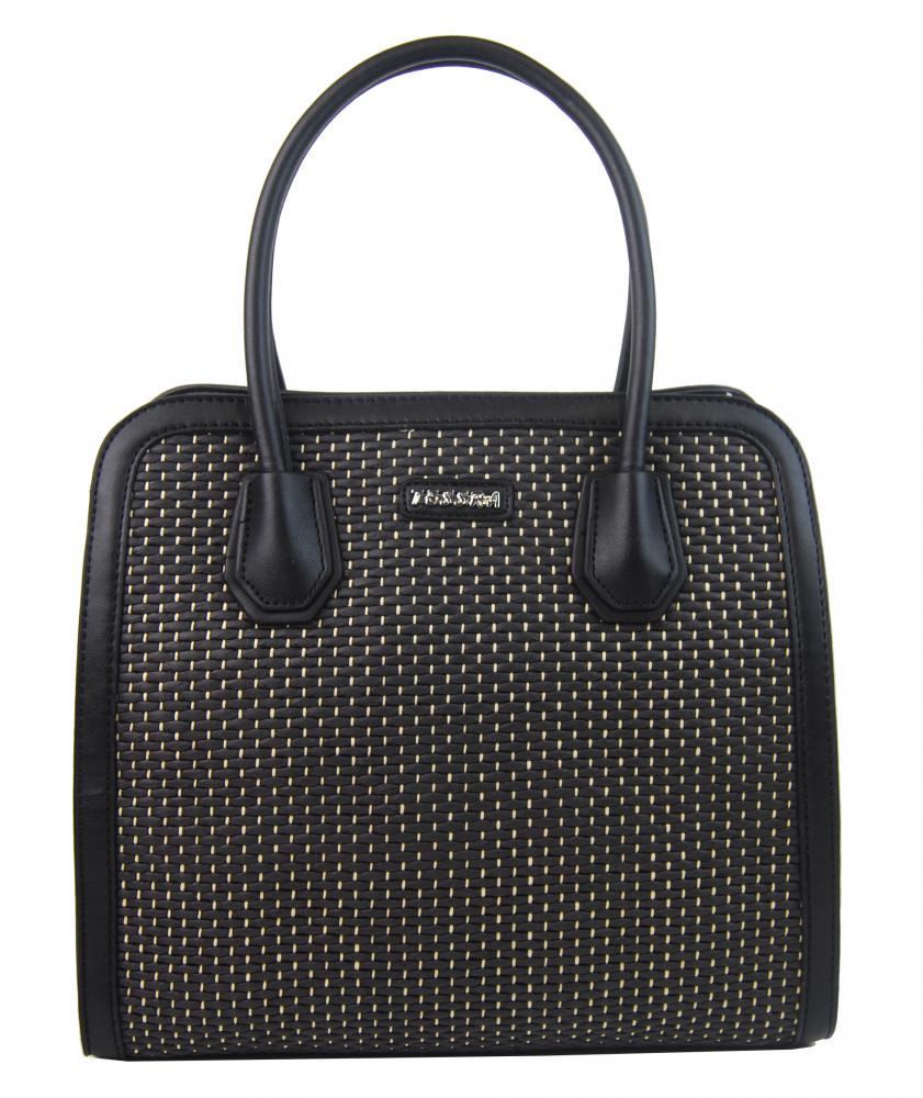 TESSRA 4490-TS Dámska kabelka do ruky v prepletanom štýlu - Čierna