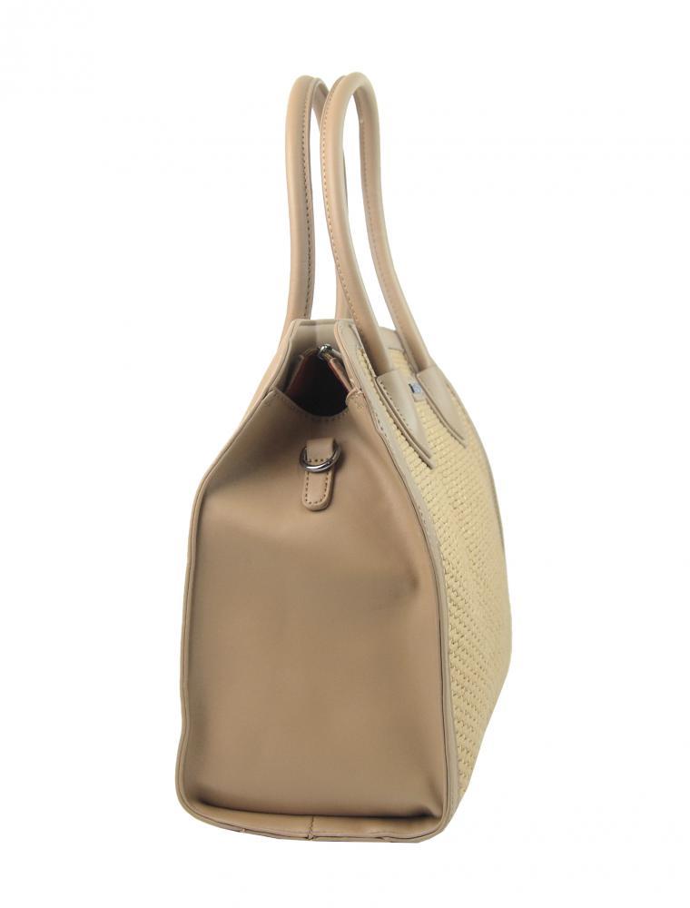 Kapučínová dámská kabelka do ruky v proplétaném stylu 4490-TS