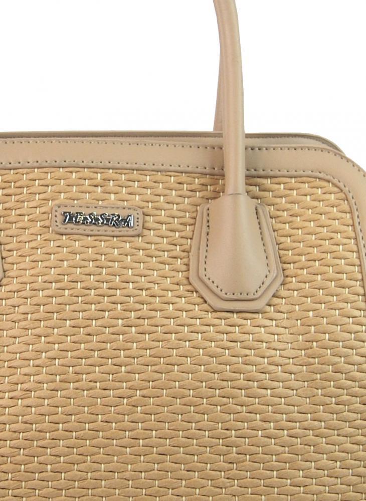 Kapučínová dámska kabelka do ruky v prepletanom štýlu 4490-TS