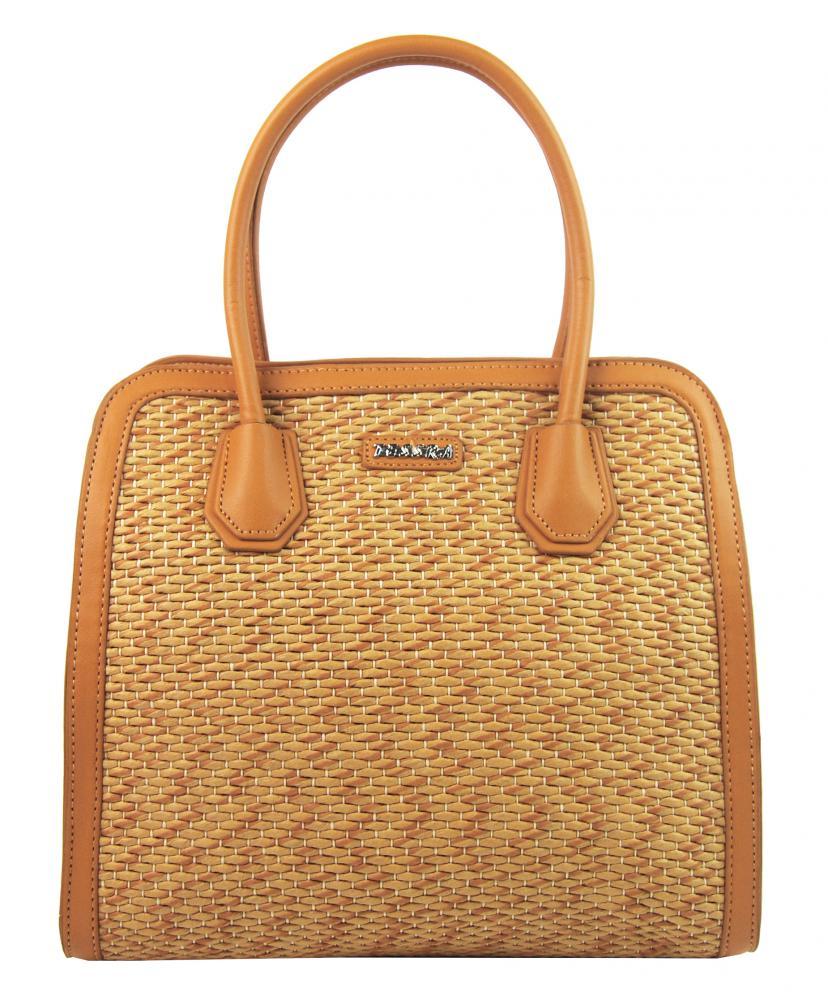 TESSRA 4490-TS Dámska kabelka do ruky v prepletanom štýlu - Okrovo žltá