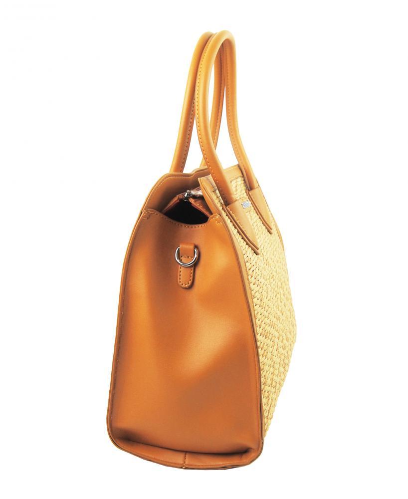Okrově žlutá dámská kabelka do ruky v proplétaném stylu 4490-TS