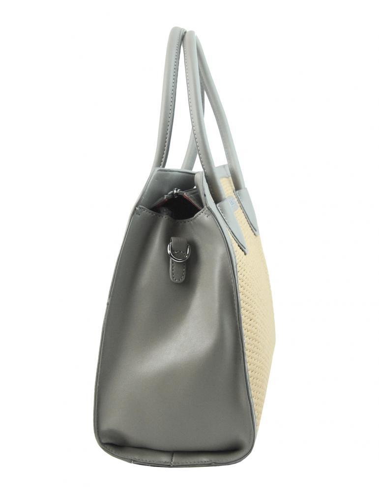 Šedá dámská kabelka do ruky v proplétaném stylu 4490-TS