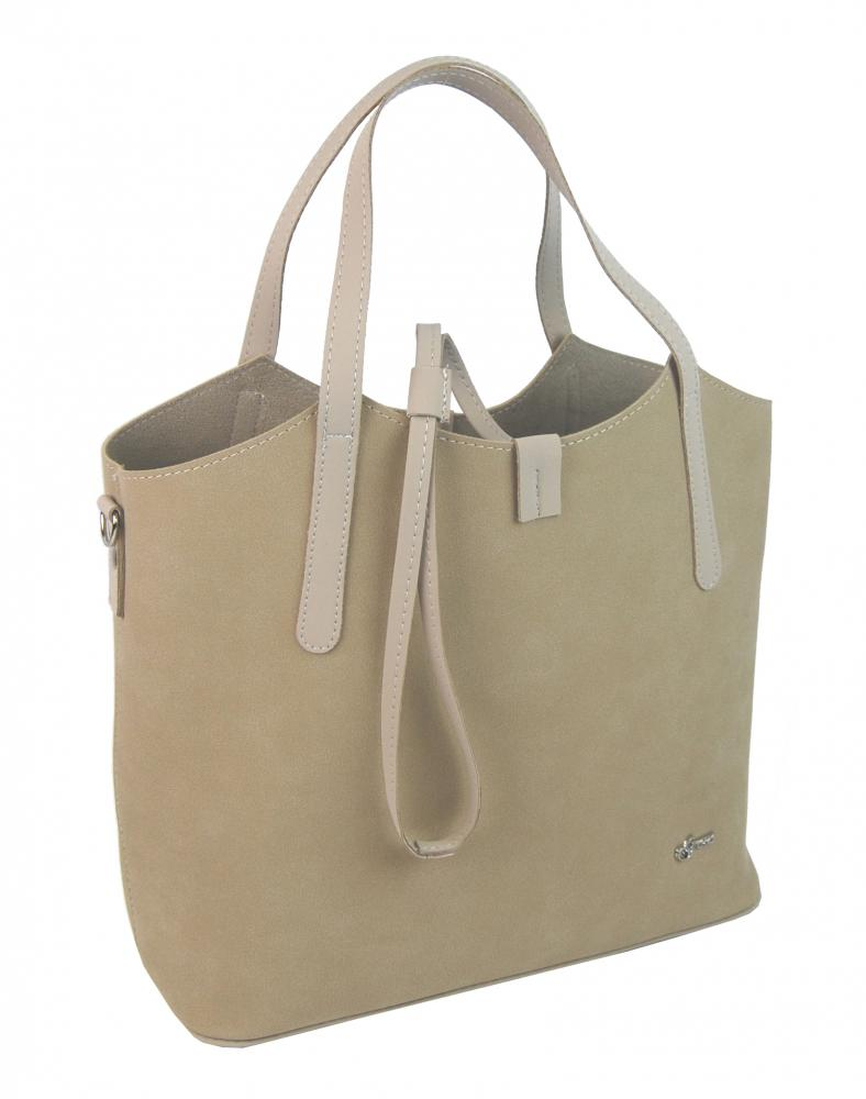 Béžová moderní dámská kabelka S749 GROSSO