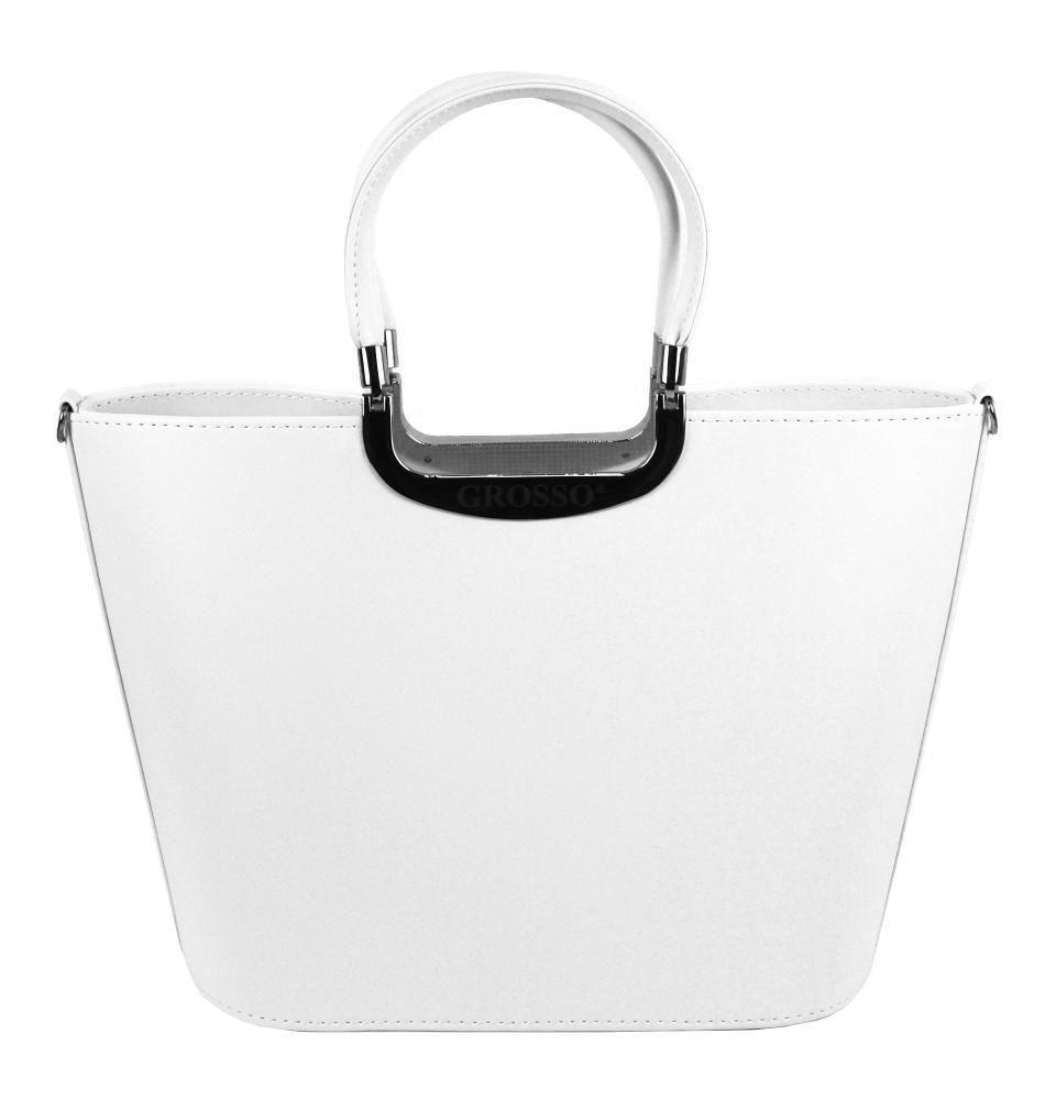 Elegantní bílá matná kabelka se stříbrnými doplňky S7 GROSSO