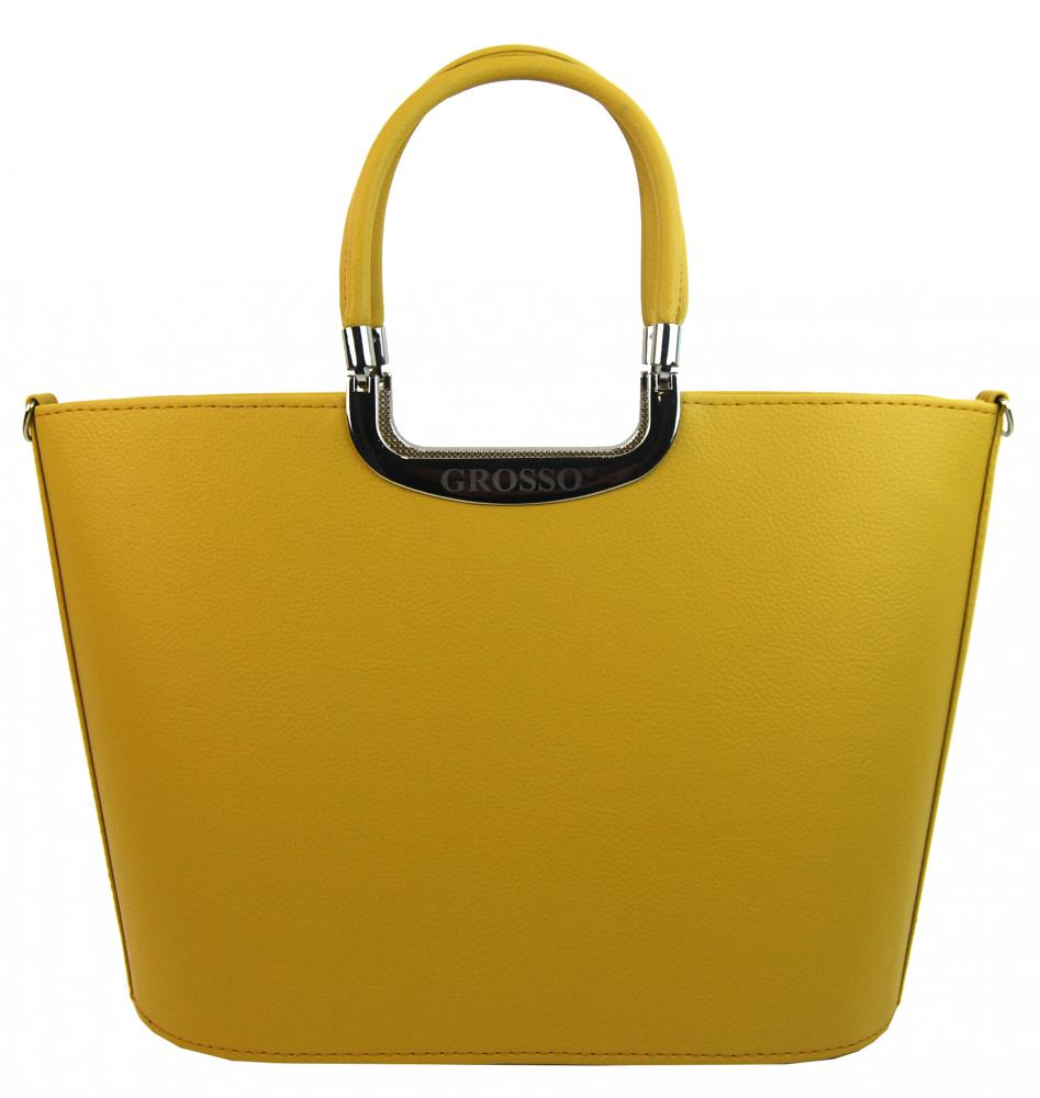 Elegantní žlutá hořčicová matná kabelka do ruky S7 GROSSO