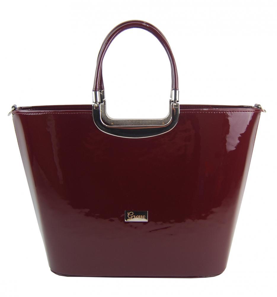 Elegantní lakovaná kabelka do ruky S7 bordová GROSSO