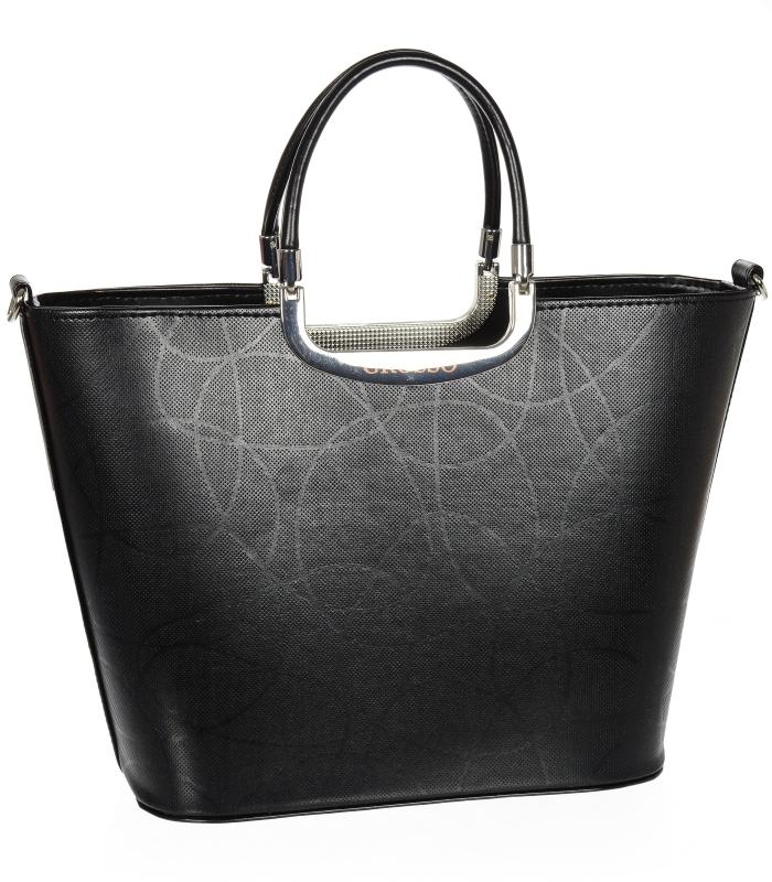Luxusní kabelka černá S7 vlnka GROSSO