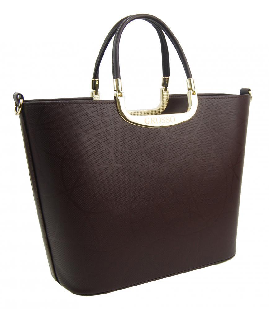 Luxusní dámská kabelka do ruky kávově hnědá S7 vlnka GROSSO