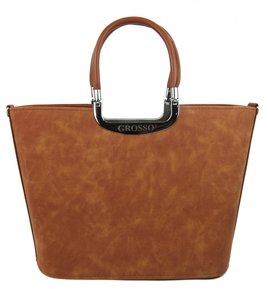 Elegantní skořicově hnědá matná kabelka do ruky S7 GROSSO