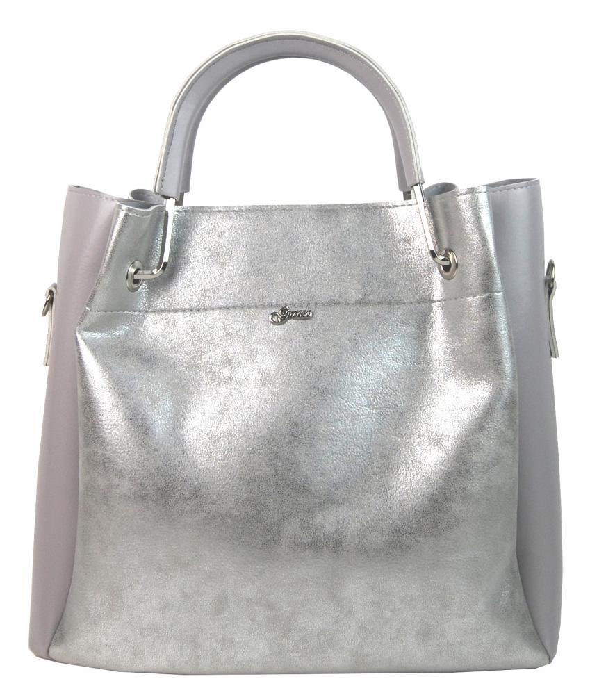 Šedo-stříbrná elegantní dámská kabelka S728 GROSSO