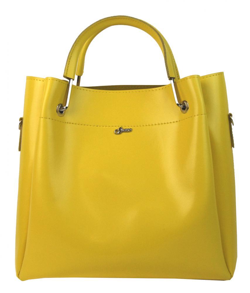 Žlutá elegantní dámská kabelka S728 GROSSO