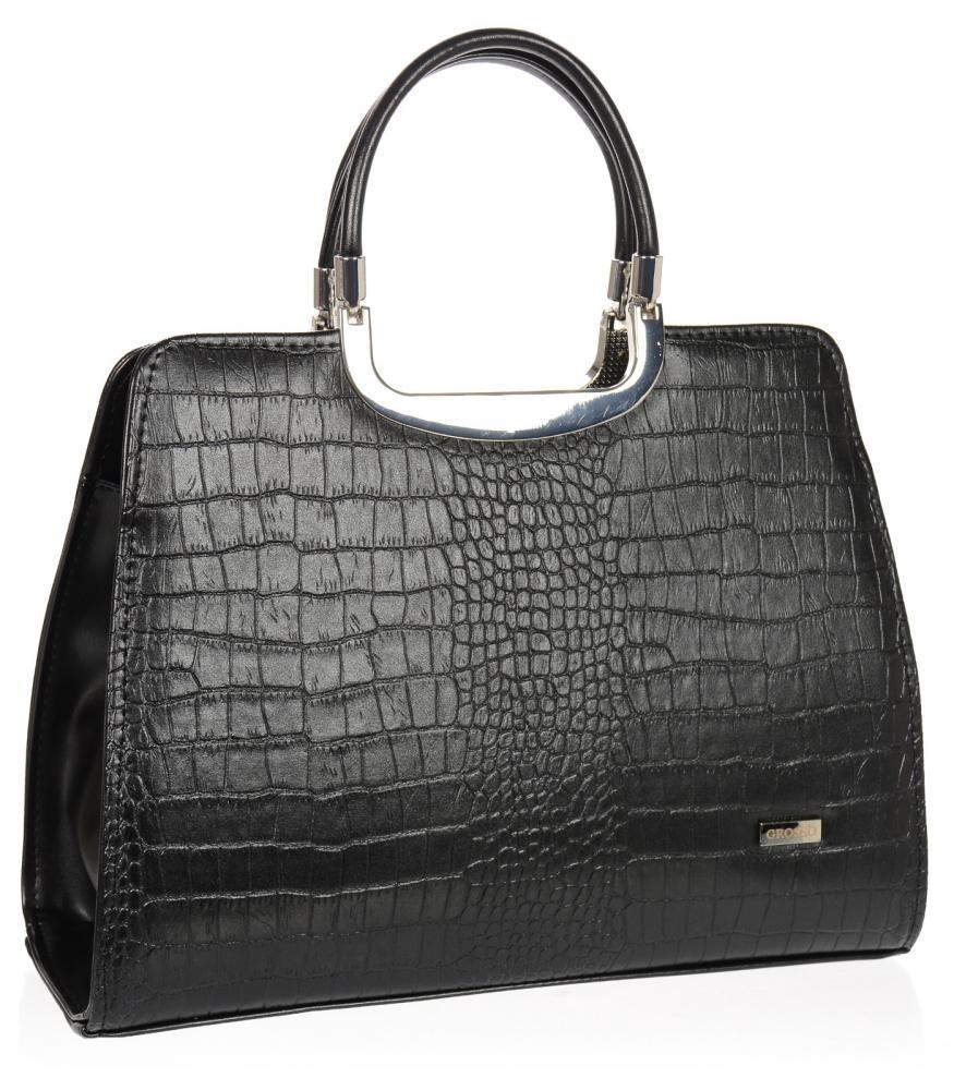 Elegantní černá matná kabelka v kroko designu S8 GROSSO