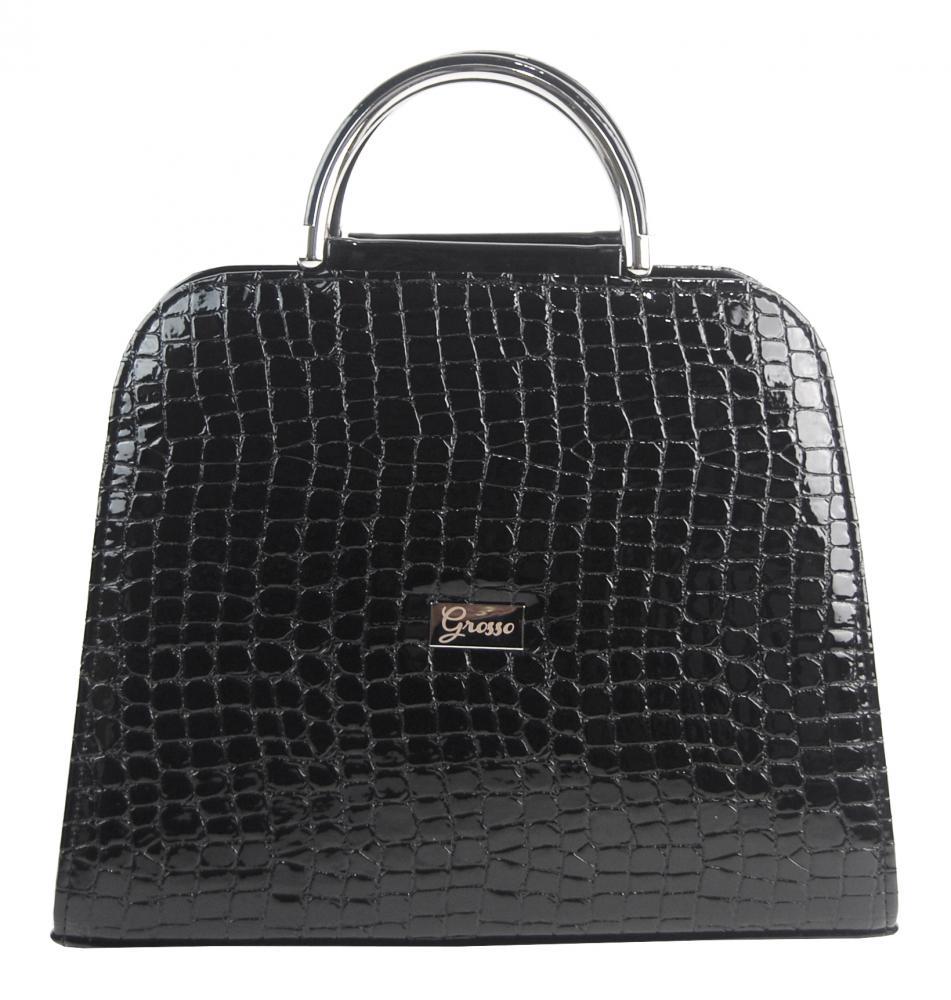 Luxusní černá lakovaná kroko kabelka do ruky S81 GROSSO