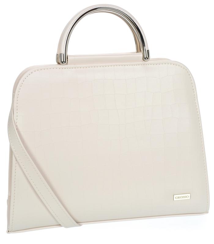 Luxusní béžová kroko kabelka do ruky S81 GROSSO