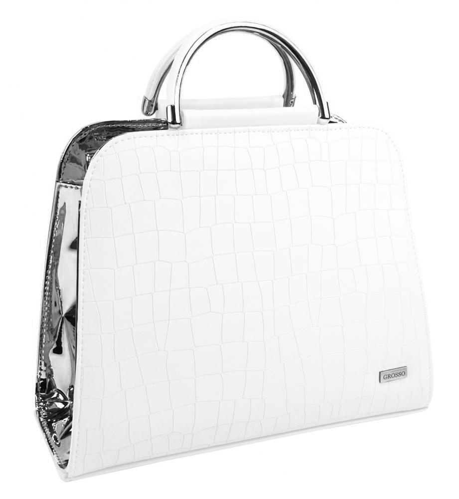 Luxusní bílo-stříbrná kroko kabelka do ruky S81 GROSSO