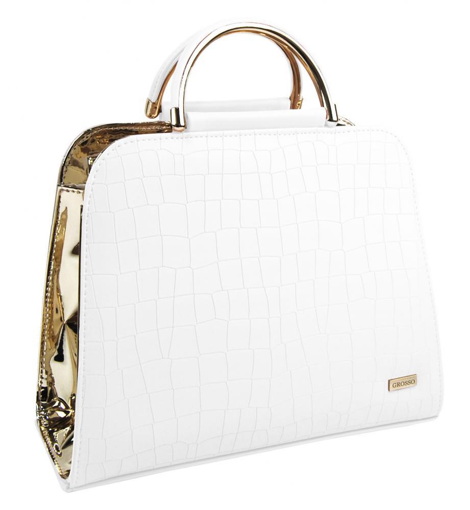 Luxusní bílo-zlatá kroko kabelka do ruky S81 GROSSO