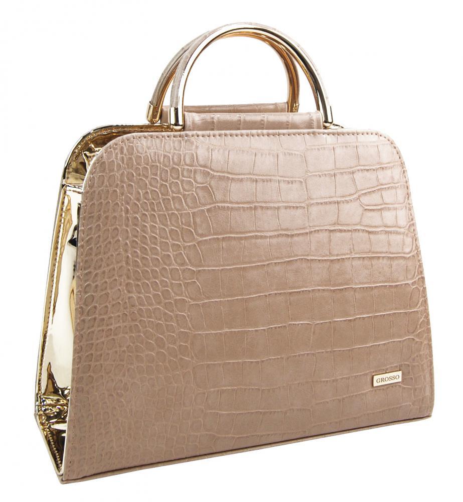 Luxusní kapučínovo-zlatá kroko kabelka do ruky S81 GROSSO