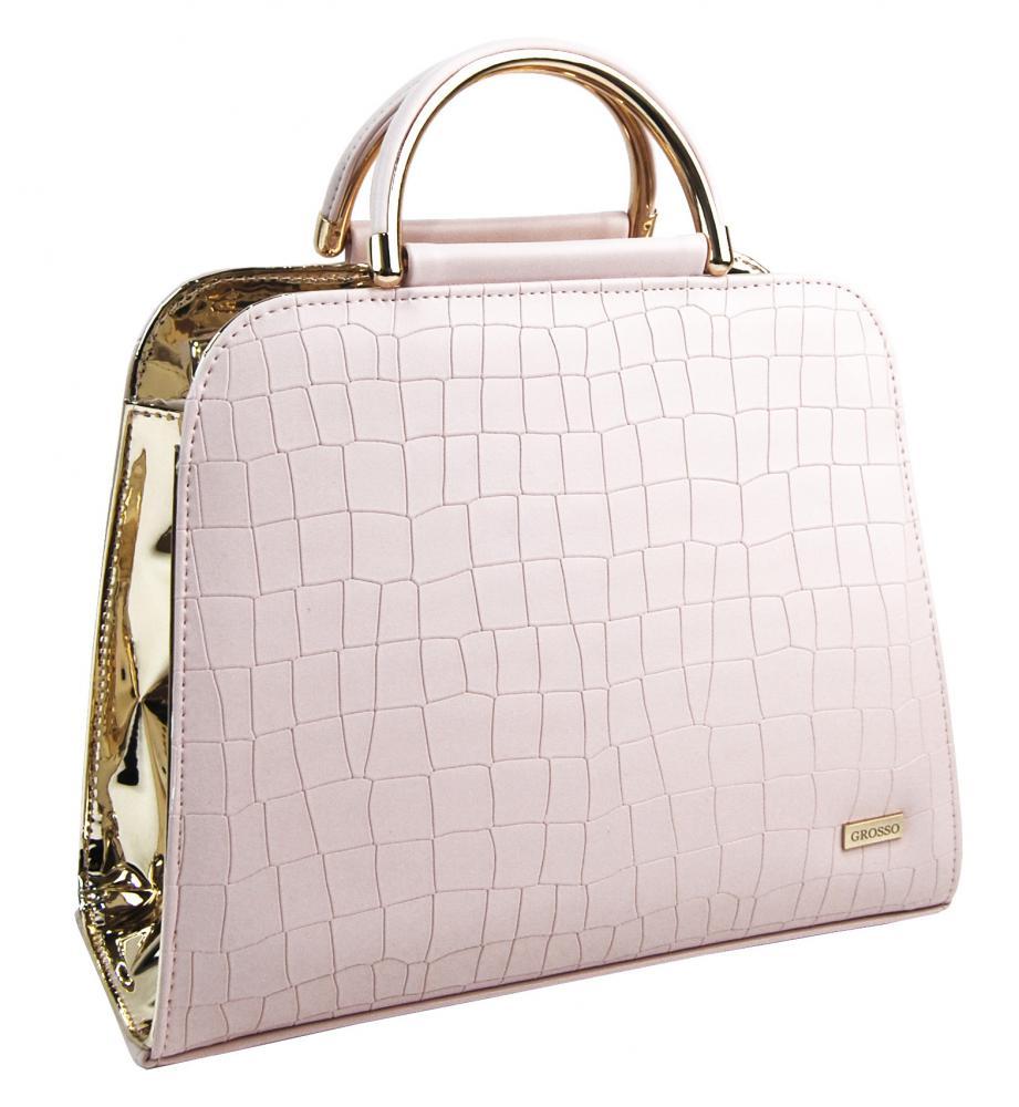 Luxusní pudrovo-zlatá kroko kabelka do ruky S81 GROSSO