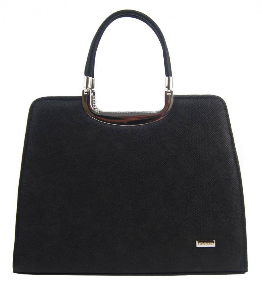 Elegantní černá matná kabelka v hadím designu S8 GROSSO