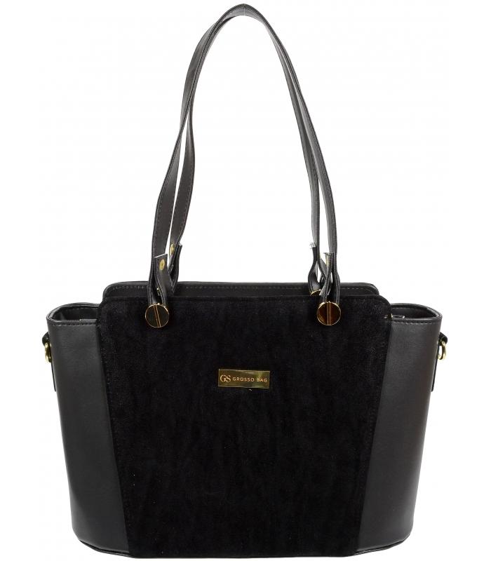 GROSSO černá zpevněná dámská kabelka přes rameno