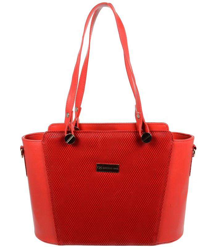 GROSSO červená zpevněná dámská kabelka přes rameno