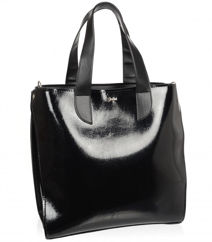 Velká černá dámská kabelka do ruky i na rameno S777 GROSSO