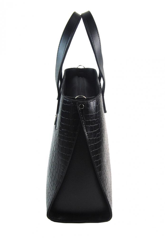 Velká černá kroko dámská kabelka do ruky i na rameno S777 GROSSO