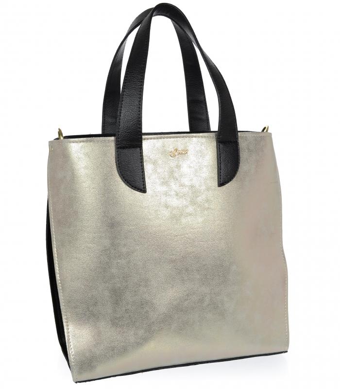 Velká zlatá dámská kabelka do ruky i na rameno S777 GROSSO
