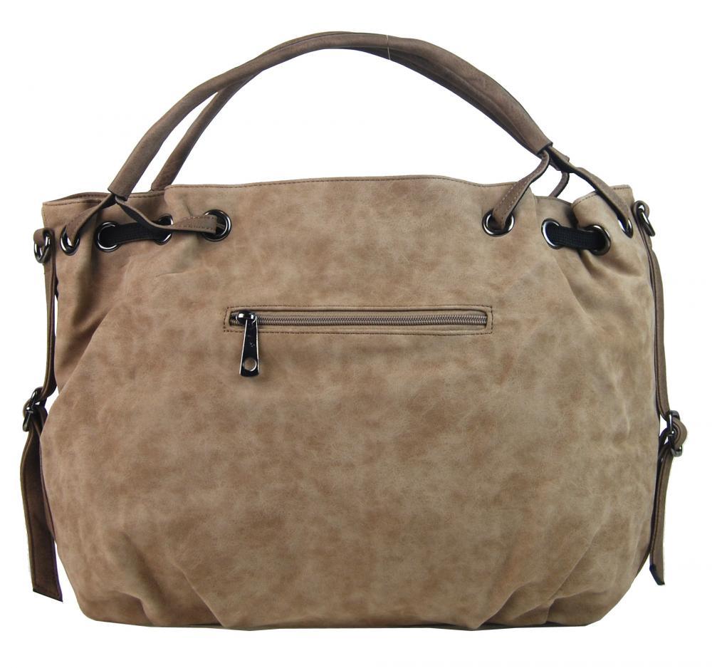 Veľká dámska kabelka z brúsenej ekokože H16093 svetlá hnedá