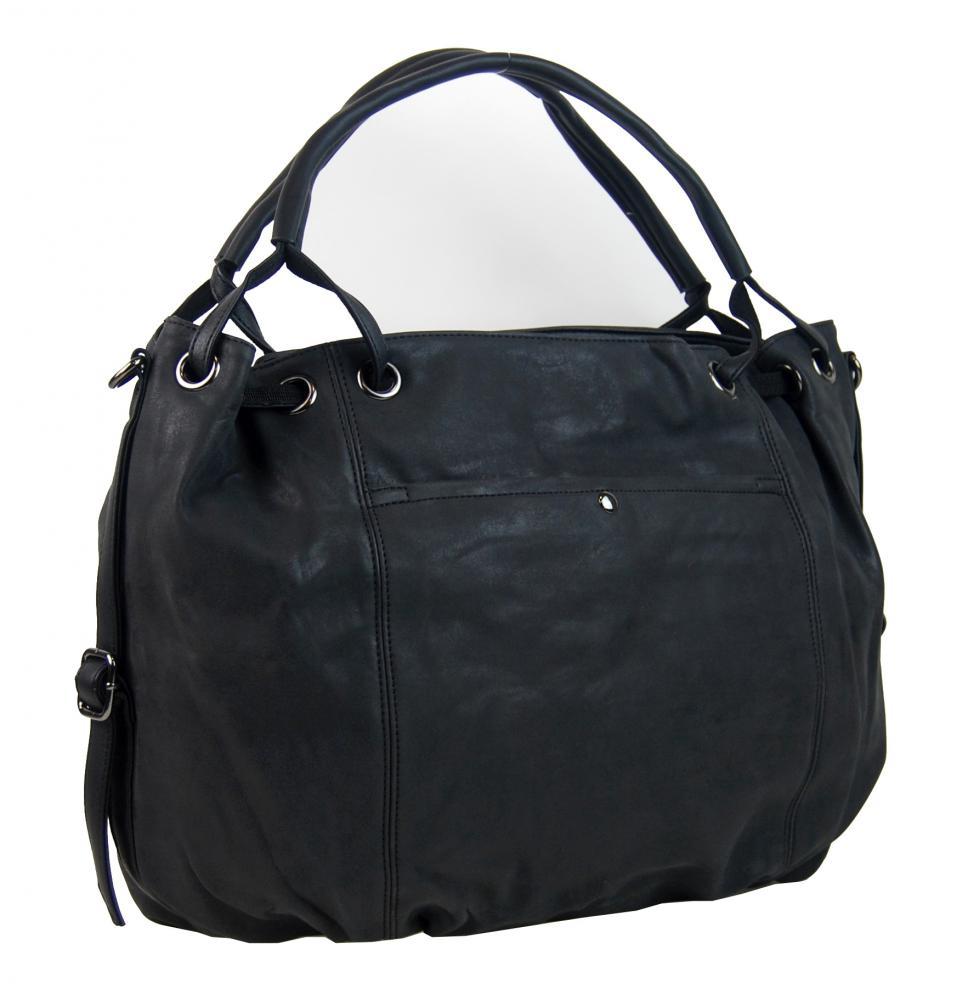 Veľká dámska kabelka z brúsenej ekokože H16093 čierna