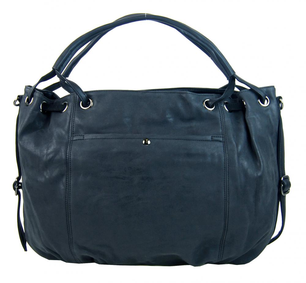 Veľká dámska kabelka z brúsenej ekokože H16093 modrá