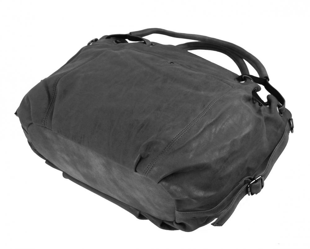 Veľká dámska kabelka z brúsenej ekokože H16093 tmavo šedá
