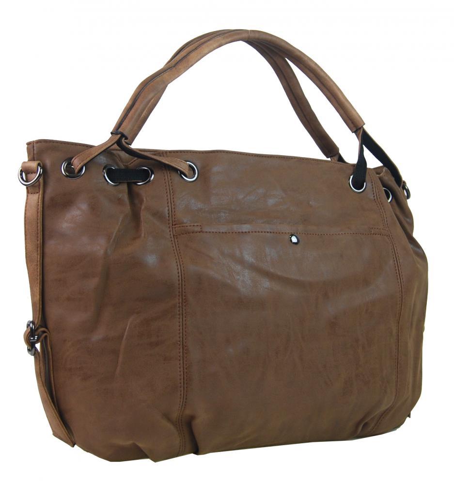 Veľká dámska kabelka z brúsenej ekokože H16093 tmavo hnedá